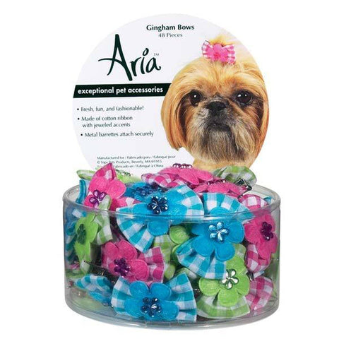 Aria Gingham Dog Bow-DOG-Aria-Pets Go Here accessories, bluebird, bows, dog bows, finishing, hot pink, parrot green, pink, raspberry Pets Go Here, petsgohere