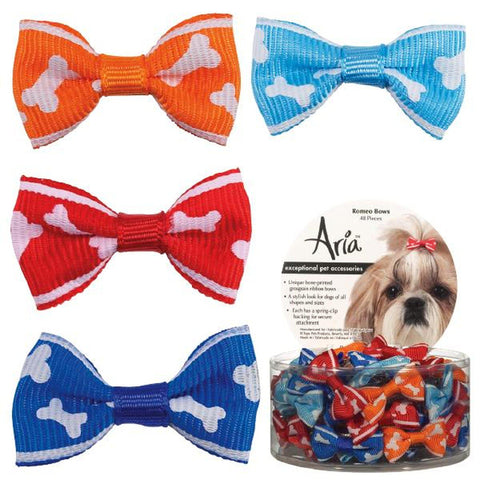 Aria Romeo Dog Bow-DOG-Aria-4 PACK-Pets Go Here accessories, aria, barrette, bows, grooming Pets Go Here, petsgohere