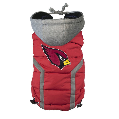 Arizona Cardinals Dog Puffer Vest Coat w/ Hood