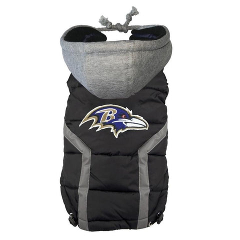 Baltimore Ravens Dog Puffer Vest Coat w/ Hood-DOG-Hip Doggie-X-LARGE-Pets Go Here hip doggie, l, m, nfl, s, sports, sports coat, xl, xs Pets Go Here, petsgohere