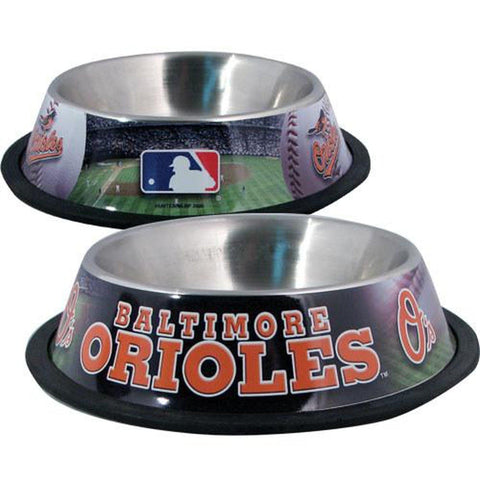 Baltimore Orioles Dog Bowl-DOG-Hunter-Pets Go Here black, ds, hunter, mlb, sports, sports bowl, stainless steel Pets Go Here, petsgohere