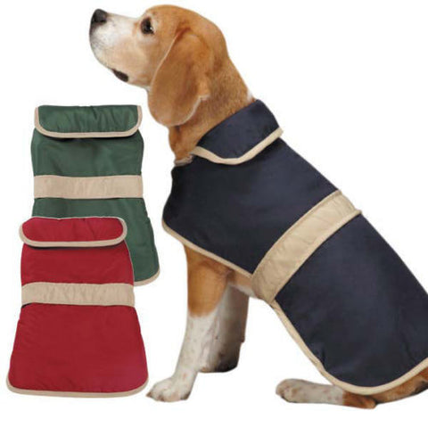 Casual Canine Barn Dog Coat with Trim blue, casual canine, coat, cranberry, dog coat, fleece, green, l, m, navy, s, xl, xs Pets Go Here, petsgohere