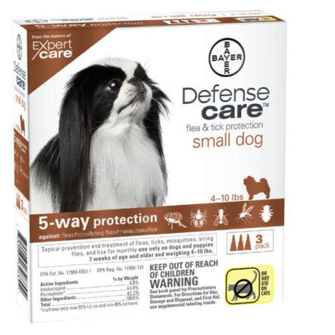 Defense Care Flea Protection Dogs 4-10 LB 3 MONTH-DOG-Bayer-SMALL-Pets Go Here 0-10 in, bayer, flea, l, m, m/l, pet meds, red, s, s/m, tick, xl, xs Pets Go Here, petsgohere
