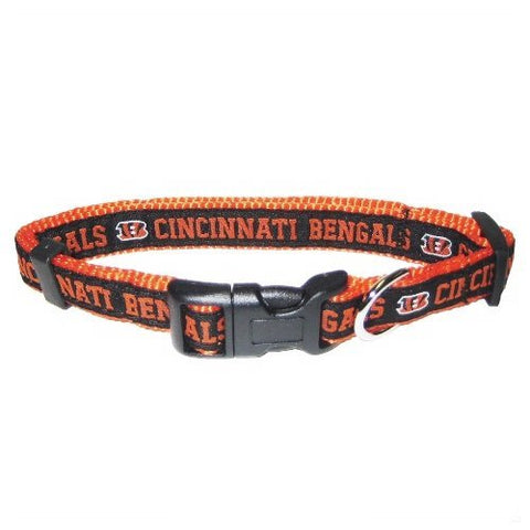 Cincinnati Bengals Dog Collar 2-DOG-Pets First-18-28 In-Pets Go Here 18-26 in, l, nfl, nylon, sports, sports collar Pets Go Here, petsgohere
