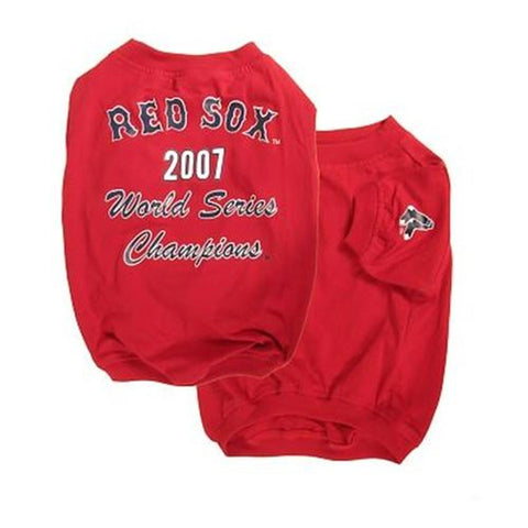 Boston Red Sox 2007 Champions Dog Shirt-DOG-Sporty K9-SMALL-Pets Go Here edit, fashionable, mlb, mlb jersey, red, shirt, sports, sports jersey, sports shirt, sporty k9, trendy Pets Go Here, petsgohere