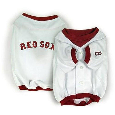 MLB Boston Red Sox Dog Jersey WHITE XXS