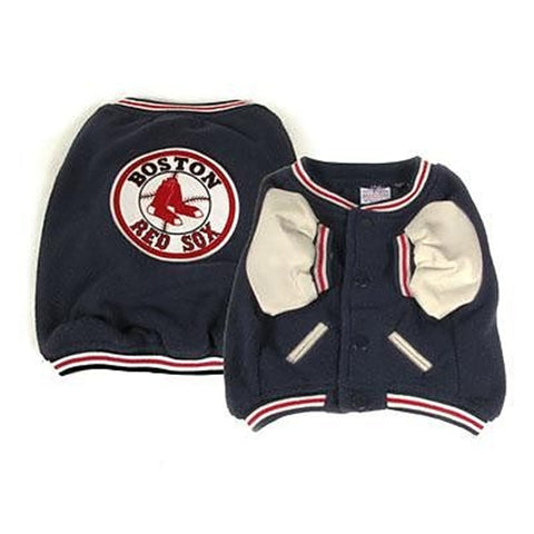 Boston Red Sox Dog Varsity Jacket-DOG-Sporty K9-X-LARGE-Pets Go Here blue, dog clothes, fleece, jacket, m, mlb, red, s, sporty k9, xs Pets Go Here, petsgohere