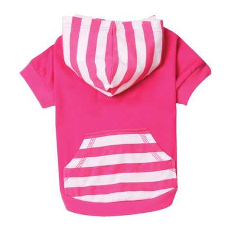 ESC Brite Stripe Pullover Dog Shirt Hoodie RASPBERRY-DOG-East Side Collection-X-SMALL-Pets Go Here brite, cat, dog clothes, east side collection, fleece, hooded, hoodie, m, pink, raspberry, shirt, xs Pets Go Here, petsgohere