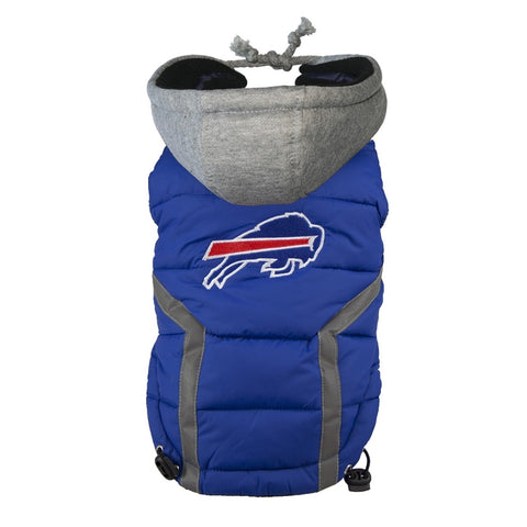 Buffalo Bills Dog Puffer Vest Coat w/ Hood-DOG-Hip Doggie-X-LARGE-Pets Go Here hip doggie, l, m, nfl, s, sports, sports coat, xl, xs Pets Go Here, petsgohere