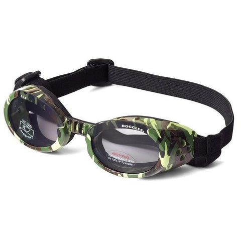 Doggles Dog Sunglasses Green Camo Frame Light Smoke Lens-DOG-Doggles-X-SMALL-Pets Go Here accessories, arctic camo, camo, doggles, eye, goggles, green, green camo, pink camo, red, sunglasses, xs Pets Go Here, petsgohere