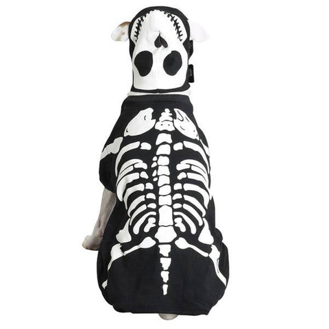 Casual Canine Glow Bones Dog Costume BLACK XS