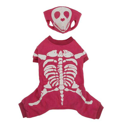 Casual Canine Glow Bones Dog Costume HOT PINK-DOG-Casual Canine-X-SMALL-Pets Go Here casual canine, cat, costume, dog, glow in the dark, l, m, pink, s, xl, xs Pets Go Here, petsgohere