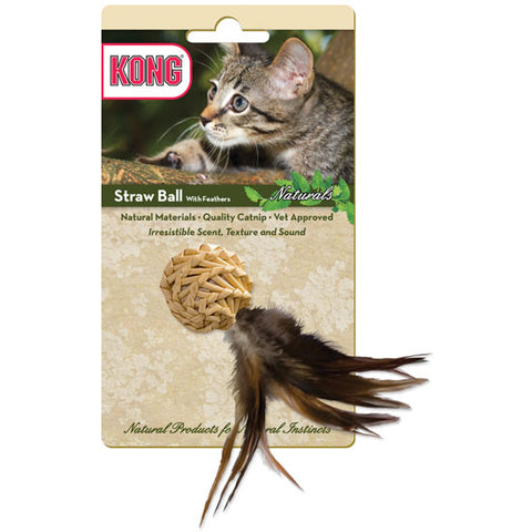 Kong Naturals Straw Ball w/Feathers Cat Toy-CAT-Kong-Pets Go Here ball, cat, cat toy, feather, kong, pet toy, teaser, toy Pets Go Here, petsgohere