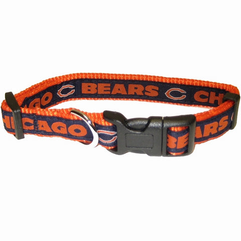 Chicago Bears Dog Collar 2-DOG-Pets First-18-28 In-Pets Go Here 18-26 in, l, nfl, nylon, sports, sports collar Pets Go Here, petsgohere