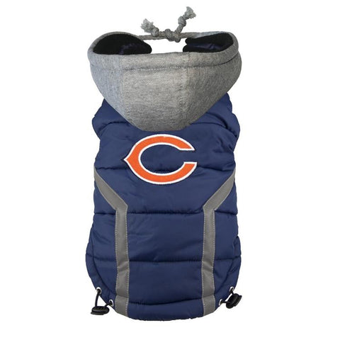 Chicago Bears Dog Puffer Vest Coat w/ Hood-DOG-Hip Doggie-LARGE-Pets Go Here hip doggie, l, m, nfl, s, sports, sports coat, test, xl, xs Pets Go Here, petsgohere