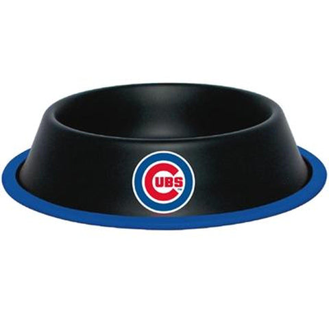 Chicago Cubs Dog Bowl Stainless Steel LG BLACK-DOG-Hunter-Pets Go Here