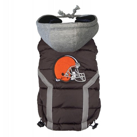 Cleveland Browns Dog Puffer Vest Coat w/ Hood-DOG-Hip Doggie-X-LARGE-Pets Go Here hip doggie, l, m, nfl, s, sports, sports coat, xl, xs Pets Go Here, petsgohere