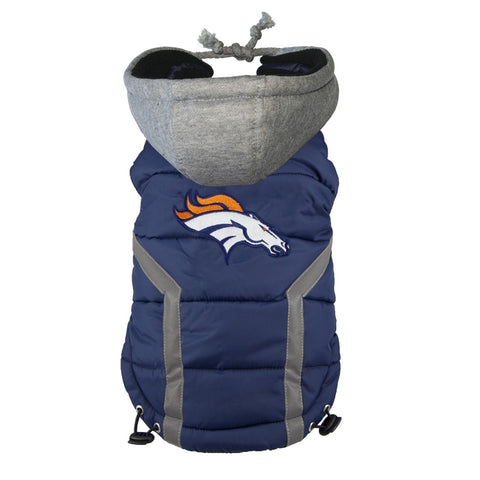 Denver Broncos Dog Puffer Vest Coat w/ Hood-DOG-Hip Doggie-X-LARGE-Pets Go Here