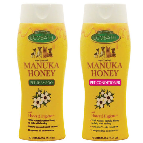EcoBath Manuka Honey Natural Dog Shampoo & Conditioner bath, conditioner, dog, eco, grooming, natural, new, shampoo Pets Go Here, petsgohere