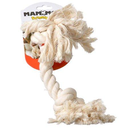 Mammoth Flossy Rope Bone Dog Toy White L