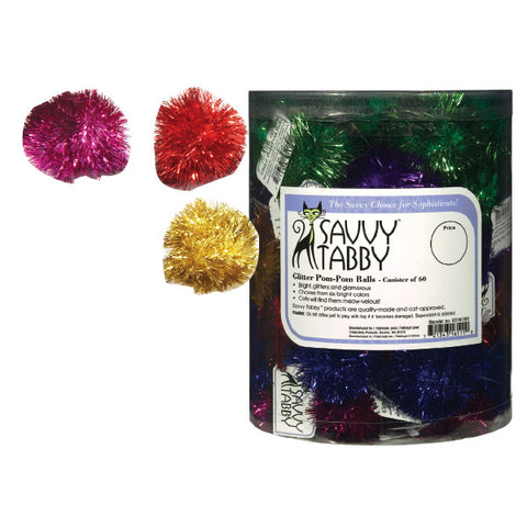 Savvy Tabby Glitter Pom-Pom Balls-CAT-Savvy Tabby-Pets Go Here ball, blue, cat, cat toy, green, pet toy, pink, red, savvy tabby, toy Pets Go Here, petsgohere