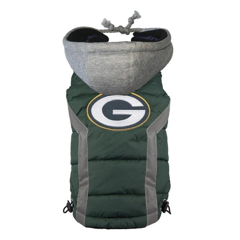 Green Bay Packers Dog Puffer Vest Coat w/ Hood-DOG-Hip Doggie-X-LARGE-Pets Go Here green, hip doggie, hunter green, l, m, nfl, reflective, s, sports, sports coat, xl, xs Pets Go Here, petsgohere