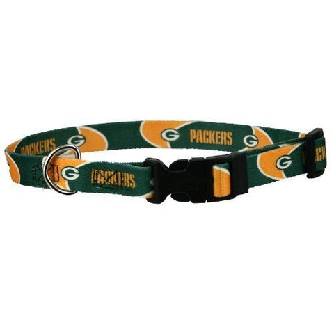 Green Bay Packers Dog Collar 2-DOG-Pets First-SMALL-Pets Go Here green, hunter green, l, m, m/l, nfl, nylon, pets first, s, s/m, sports, sports collar, xl, xs Pets Go Here, petsgohere