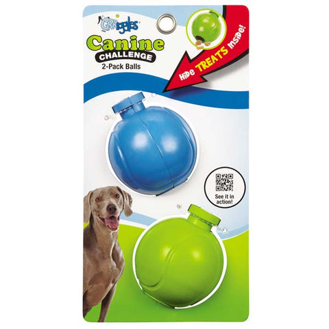 Grriggles Canine Challenge Ball Dog Toy 2 Pack-DOG-Grriggles-Pets Go Here ball, chew, dog, dog toy, grriggles, interactive, rubber, toy Pets Go Here, petsgohere