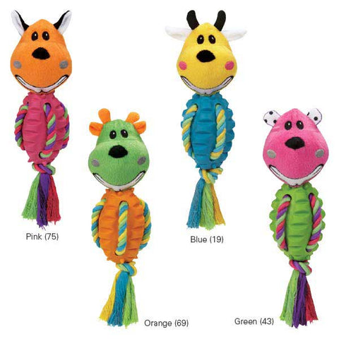 Grriggles FUNdamentals Touchdown Gang Dog Toy-DOG-Grriggles-BLUE-Pets Go Here blue, dc, dog, dog toy, dog toy rope, fetch, green, grriggles, oos, orange, pink, plush, rope, rubber, squeaker, toy Pets Go Here, petsgohere