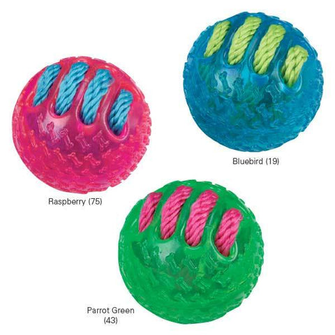 Grriggles FUNdamentals Ball Dog Toy-DOG-Grriggles-BLUEBIRD-Pets Go Here ball, blue, bluebird, chew, dog toy, green, grriggles, parrot green, pink, rubber, test, toy Pets Go Here, petsgohere