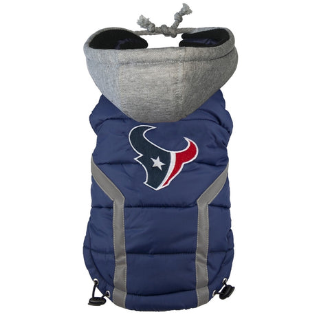 Houston Texans Dog Puffer Vest Coat w/ Hood-DOG-Hip Doggie-X-LARGE-Pets Go Here hip doggie, l, m, nfl, reflective, s, sports, sports coat, xl, xs Pets Go Here, petsgohere