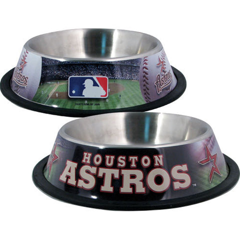 Houston Astros Dog Bowl-DOG-Hunter-Pets Go Here black, dc, hunter, mlb, sports, sports bowl, stainless steel Pets Go Here, petsgohere