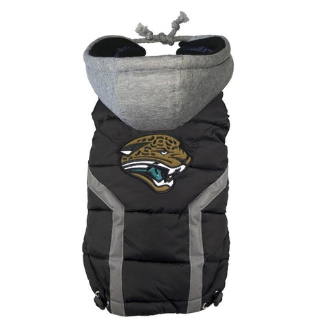 Jacksonville Jaguars Dog Puffer Vest Coat w/ Hood-DOG-Hip Doggie-X-LARGE-Pets Go Here hip doggie, l, m, nfl, reflective, s, sports, sports coat, xl, xs Pets Go Here, petsgohere