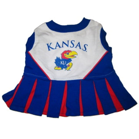 Kansas Jayhawks Dog Cheerleading Uniform Dress-DOG-Pets First-Pets Go Here costume, dog, dog dress, ncaa, pets first, sports, uniform Pets Go Here, petsgohere