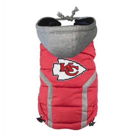 Kansas City Chiefs Dog Puffer Vest Coat w/ Hood-DOG-Hip Doggie-LARGE-Pets Go Here hip doggie, l, m, nfl, reflective, s, sports, sports coat, xl, xs, xxl Pets Go Here, petsgohere