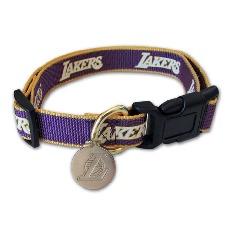 Los Angeles Lakers Reflective Dog Collar M/L-DOG-Sporty K9-Pets Go Here mlb, nba, ncaa, reflective, sports, sports collar, sporty k9 Pets Go Here, petsgohere