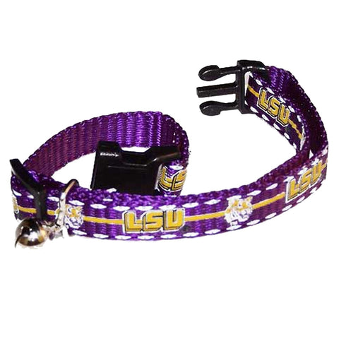 LSU Tigers Breakaway Cat Collar-CAT-Pet Goods-Pets Go Here cat collar sports, ncaa, ncaa cat collar, nylon, pet goods, reflective, sports Pets Go Here, petsgohere