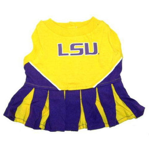 LSU Tigers Dog Cheerleading Uniform Dress-DOG-Pets First-Pets Go Here costume, dog, dog dress, ncaa, pets first, sports, uniform Pets Go Here, petsgohere