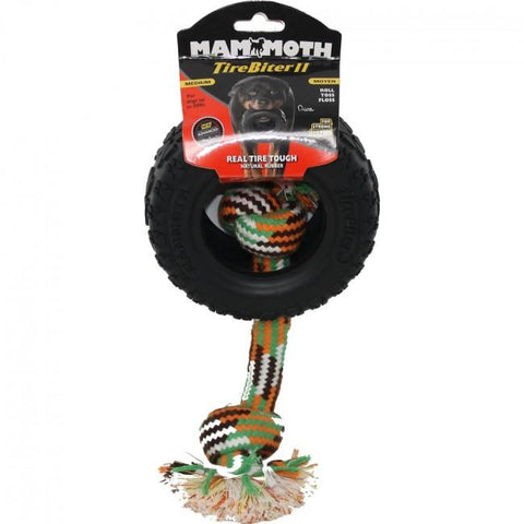 Mammoth Tirebiter II w Rope Dog Chew Toy L 6""