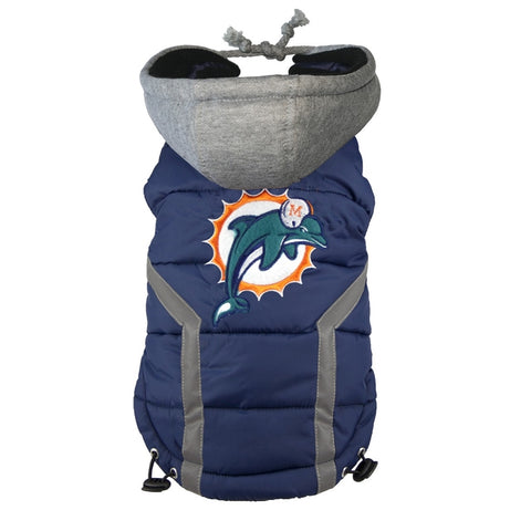 Miami Dolphins Dog Puffer Vest Coat w/ Hood-DOG-Hip Doggie-X-LARGE-Pets Go Here hip doggie, l, m, nfl, reflective, s, sports, sports coat, xl, xs Pets Go Here, petsgohere