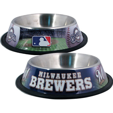 Milwaukee Brewers Dog Bowl-DOG-Hunter-Pets Go Here black, hunter, sports, sports bowl, stainless steel Pets Go Here, petsgohere