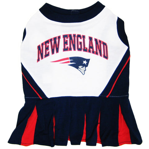 New England Patriots Dog Cheerleading Uniform Dress X-SMALL-DOG-Hunter-Pets Go Here costume, dog, dog dress, doggienation, nfl, pets first, sports, uniform Pets Go Here, petsgohere