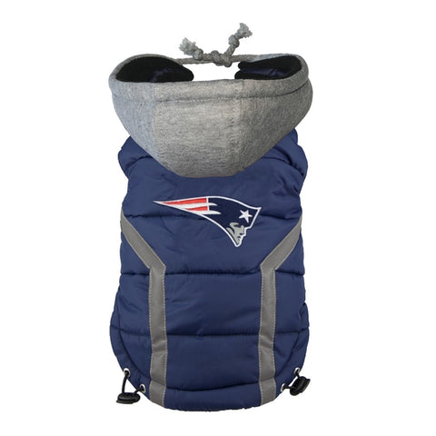 New England Patriots Dog Puffer Vest Coat w/ Hood-DOG-Hip Doggie-SMALL-Pets Go Here hip doggie, l, m, nfl, s, sports, sports coat, xl, xs Pets Go Here, petsgohere