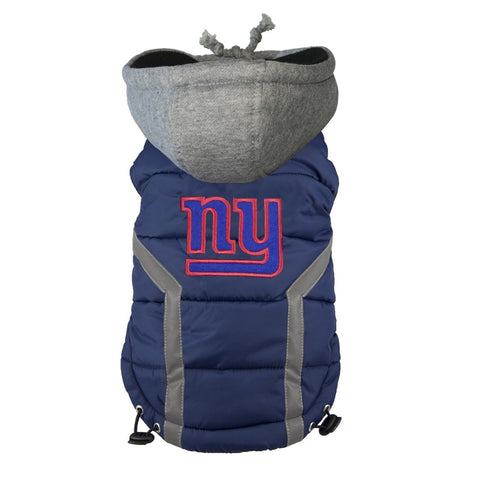 New York Giants Dog Puffer Vest Coat w/ Hood-DOG-Hip Doggie-X-LARGE-Pets Go Here hip doggie, l, m, nfl, reflective, s, sports, sports coat, xl, xs Pets Go Here, petsgohere