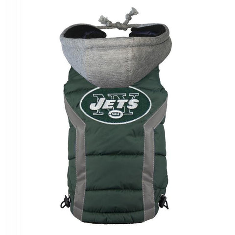 New York Jets Dog Puffer Vest Coat w/ Hood-DOG-Hip Doggie-LARGE-Pets Go Here hip doggie, l, m, nfl, s, sports, sports coat, test, xl, xs Pets Go Here, petsgohere