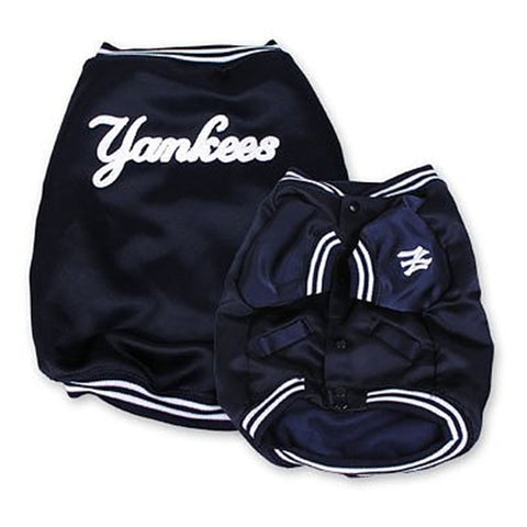 New York Yankees Dugout Jacket for Dogs-DOG-Pets First-LARGE-Pets Go Here dog clothes, fleece, jacket, l, m, mlb, s, sporty k9, xl, xs Pets Go Here, petsgohere