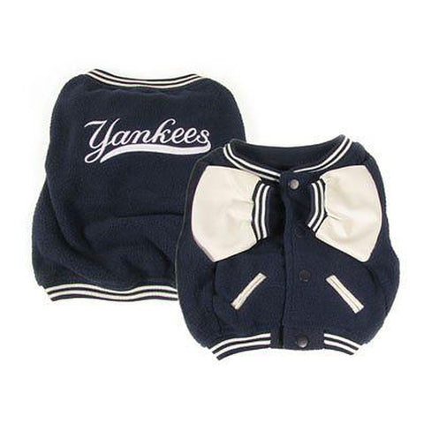 New York Yankees Varsity Dog Jacket-DOG-Petmate-X-SMALL-Pets Go Here coat, dog clothes, fleece, jacket, l, m, m/l, mlb, s, s/m, sporty k9, xl, xs Pets Go Here, petsgohere