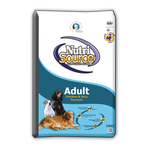 NutriSource Adult CHICKEN & Rice Formula Dog Food 18 LB-DOG-NutriSource-18 Lb-Pets Go Here 6.6 lb, adult, chicken, food, organic, pet meds, pet supplements, white Pets Go Here, petsgohere