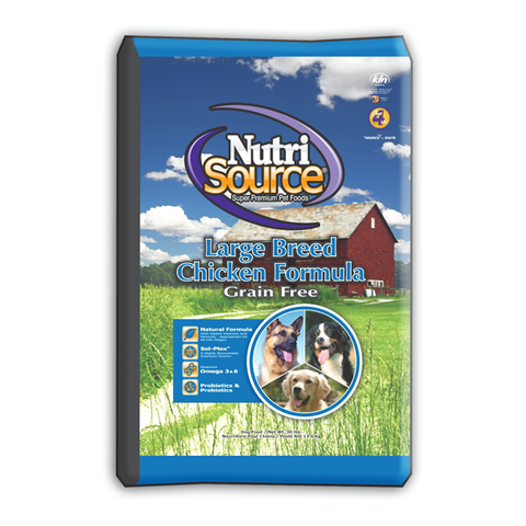 NutriSource Grain Free LARGE Breed CHICKEN Formula Dog Food 30 LB-DOG-NutriSource-Pets Go Here chicken, food, grain free, organic, pet meds, pet supplements Pets Go Here, petsgohere