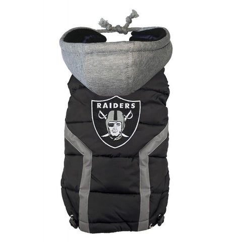 Oakland Raiders Dog Puffer Vest Coat w/ Hood-DOG-Hip Doggie-LARGE-Pets Go Here hip doggie, l, m, nfl, s, sports, sports coat, xl, xs Pets Go Here, petsgohere